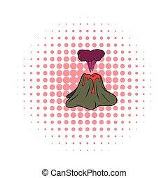 Volcano erupting icon, comics style - Volcano erupting icon...