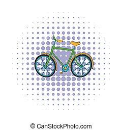 Green bike icon, comics style - Green bike icon in comics...