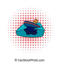 Sinking tanker and oil spill icon, comics style - Sinking...