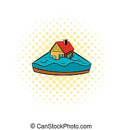 House sinking in a water icon, comics style