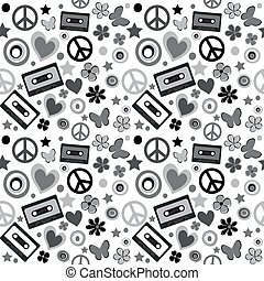 Flower power background - Black and white flower power...