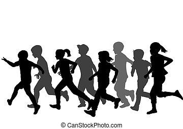 Children silhouettes running