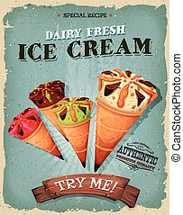 Grunge And Vintage Ice Cream Cones Poster - Illustration of...