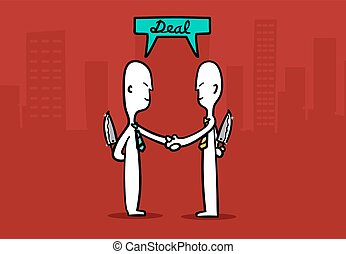 Biz man concept : Two Business mans shaking hands with tricky deal a business at city building background