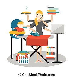 Multitask woman. Mother, businesswoman with baby, ironing,...