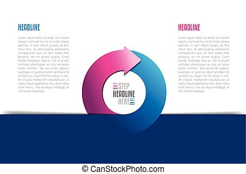 Circle, round divided in two arrows infographic. Template, scheme, diagram, chart, graph, presentation. Business concept with 2 steps, options, processes.