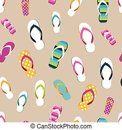 Flip flop color summer pattern Seamless repeat pattern,...