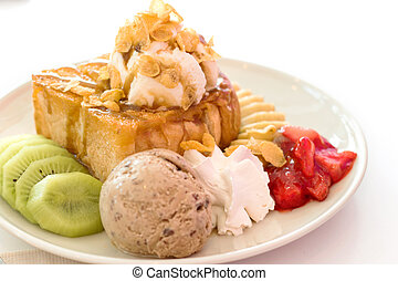 Honey toast and whipping cream with ice cream on white