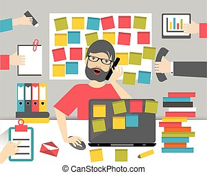 Hard working business man. Worksplace flat vector...