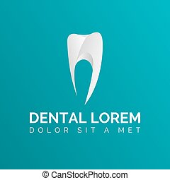 Stylized Tooth Icon logo template on green background. Tooth vector. Logo for dental clinic.