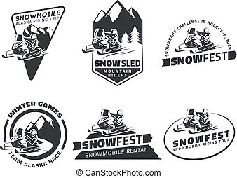 Set of winter snowmobile emblems, badges and icons....