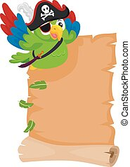 Pirate Parrot with Blank Scroll