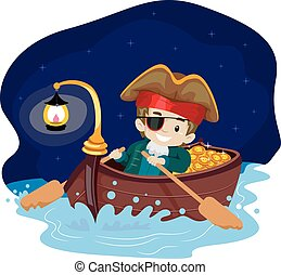 Pirate Kid on Boat at Night - Vector Illustration of Pirate...