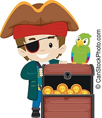 Pirate Kid Parrot Treasure Chest