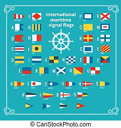 International maritime signal flags. Sea alphabet. Flat...