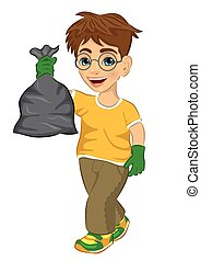 Cute teenager boy in yellow T-shirt and green rubber gloves holding garbage bag