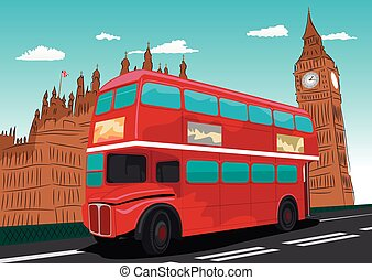 Big Ben with red double-decker bus in London, UK