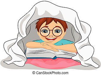 Little boy with glasses reads a book in bed under blanket -...