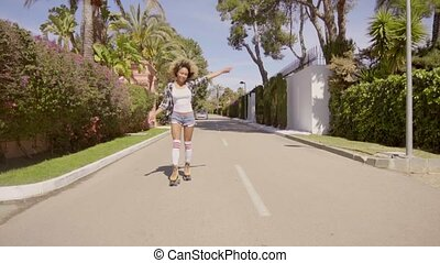 Woman Riding Among Palm Trees On Roller Skates -...