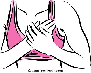 fitness woman with chest pain illustration