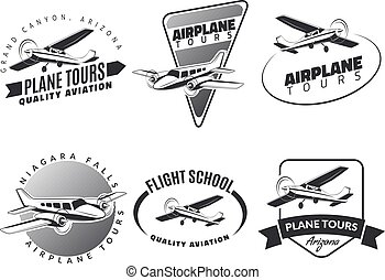 Set of vintage airplane emblems, badges and icons.Airplane...