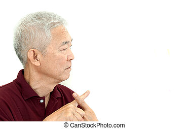 Asian senior man crossing finger say no unhappy with copy...