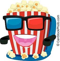 Popcorn Mascot wearing 3d Glass