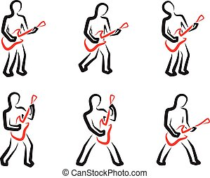 Guitar player silhouettes set