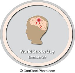 World Stroke Day - October 29. Brain. Baner. Infographics. Vector illustration on isolated background
