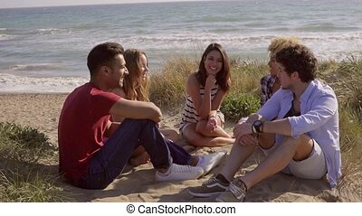 Friends Have A Great Conversation - Five young friends...