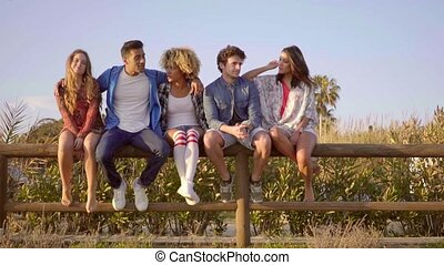 Young People Sitting On Wooden Fence. - Group of young...