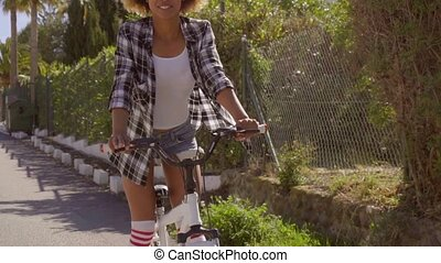Happy Woman Riding The Bicycle - Perfect bicycle riding...
