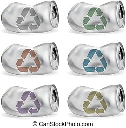 set of jammed aluminum cans - jammed aluminum cans eps10...