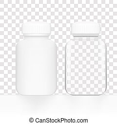 Blank white and glass medicine bottle