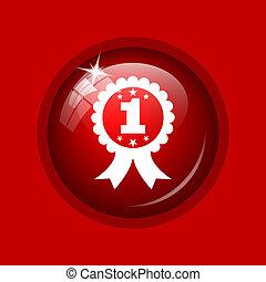 primero, premio, cinta, icono,