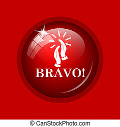 Bravo icon. Internet button on red background.