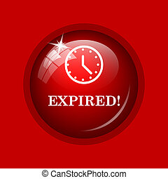 Expired icon. Internet button on red background.