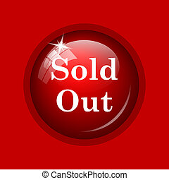 Sold out icon Internet button on red background