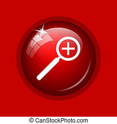 Zoom in icon Internet button on red background