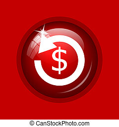 Refund icon Internet button on red background