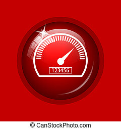 Speedometer icon Internet button on red background