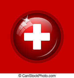 Medical cross icon Internet button on red background