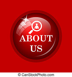 About us icon Internet button on red background