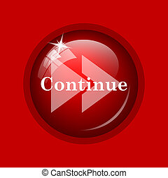 Continue icon. Internet button on red background.