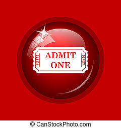 Admin one ticket icon Internet button on red background