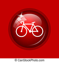 Bicycle icon Internet button on red background