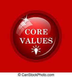 Core values icon. Internet button on red background.