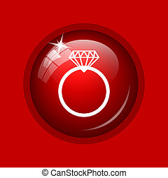 Diamond ring icon. Internet button on red background.