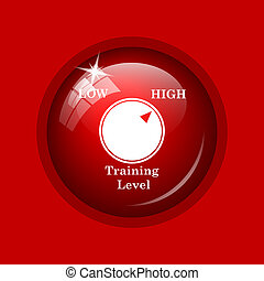 Training level icon. Internet button on red background.