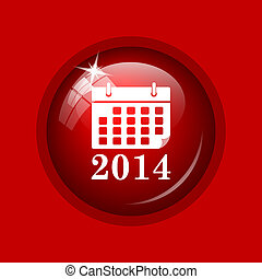 2014 calendar icon Internet button on red background